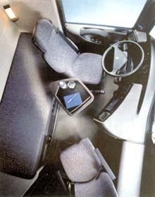 Салон Renault Magnum Взгляд сверху: хорошо видны вращающееся кресло и обеденный столик